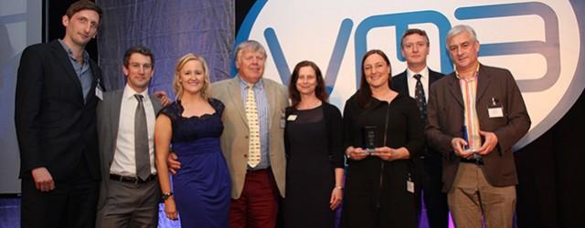 MG&A, sponsors of the VMA International Marketing Award 2013, presenting a trophy to worthy winners Boehringer Ingelheim Vetmedica and their agency, ICC Lowe.