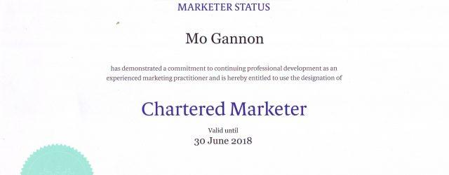 Mo Gannon awarded Chartered Institute of Marketing Chartered Marketer status 2017 - 2018